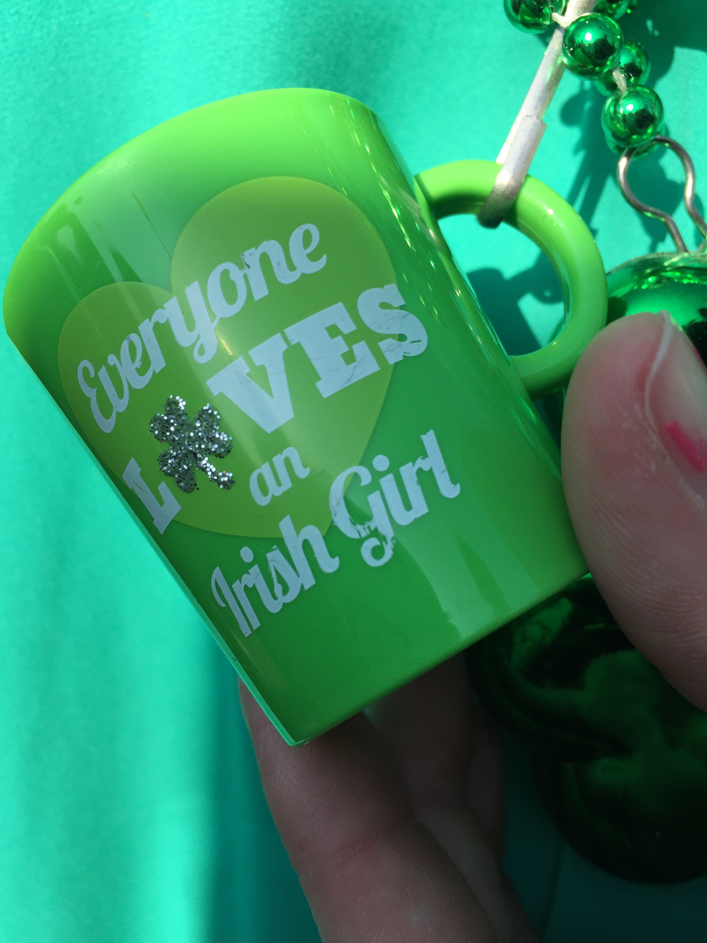 """A hectic day spent very under the weather, but still got out for a little bit to enjoy some time with Bill P. & Sara C.! This is her neckless - it's a little cup that says """"Everyone Loves an Irish Girl."""""""