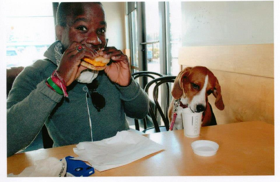 """One of my favorite photos of Charlotte and I - enjoying a breakfast sandwich and a """"puppy snack"""" from a local Starbucks in Fredericksburg, VA. Photo credit to the wonderful Taylor C. :)"""